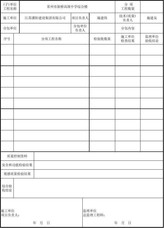 001-(子分部)工程质量验收记录