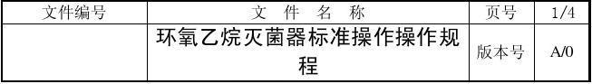 环氧乙烷灭菌器标准操作操作规程