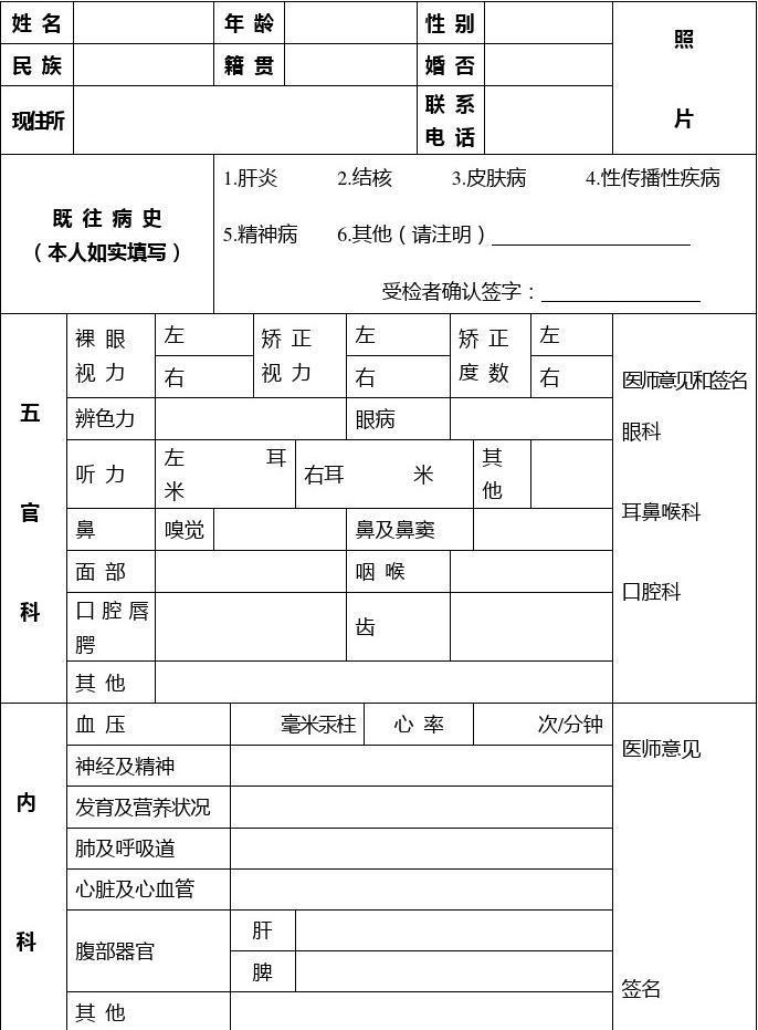 江苏省幼儿园教师资格申请人员体检表
