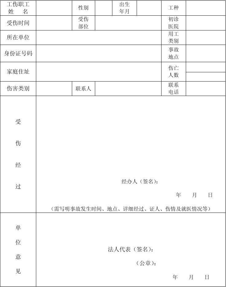 工伤报告表.xls