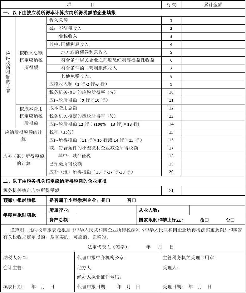 中华人民共和国企业所得税月(季)(B类,2015年版)
