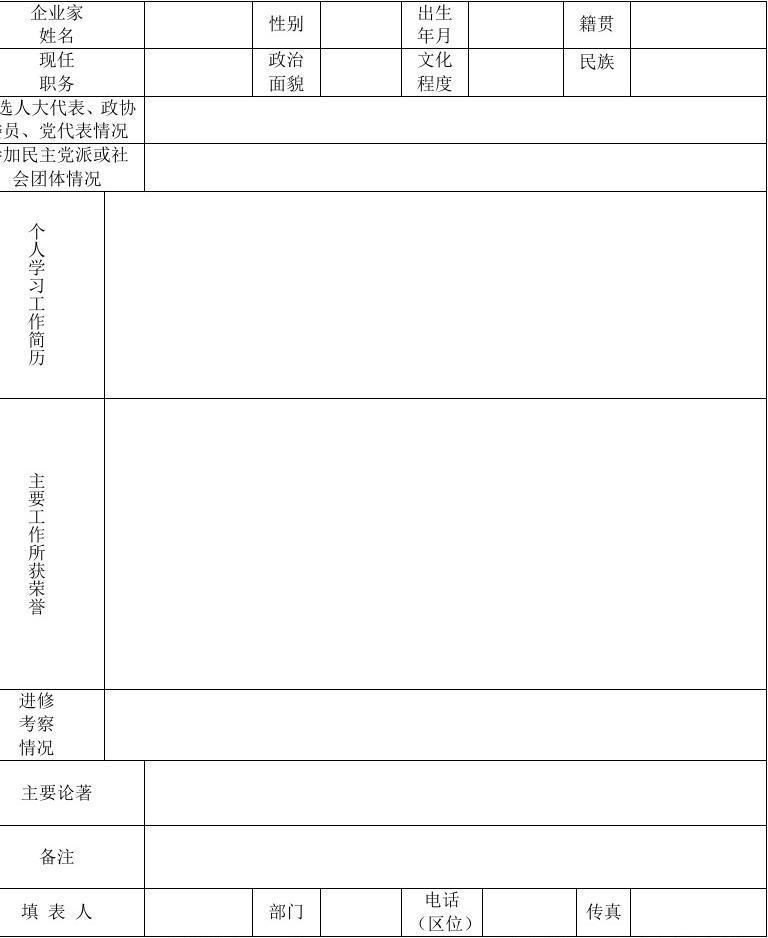 中国优秀企业家数据库录入工作单