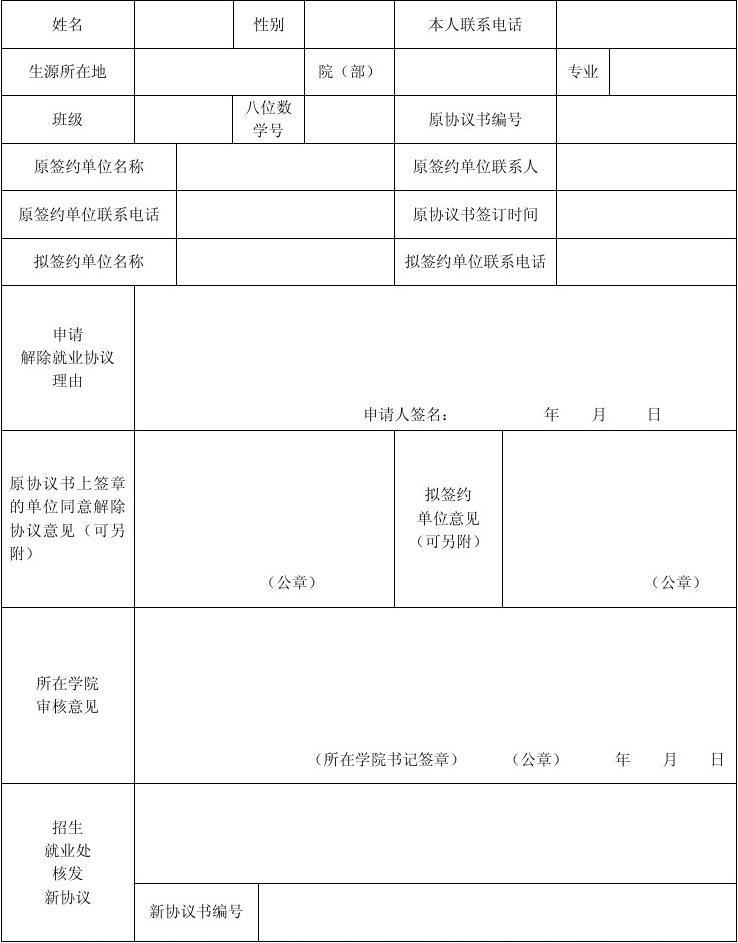解除行政记过申请书_毕业生解除就业协议申请表_文库下载