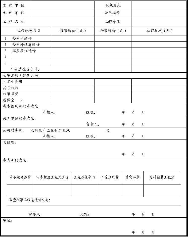 工程结算造价审批表(附件9)