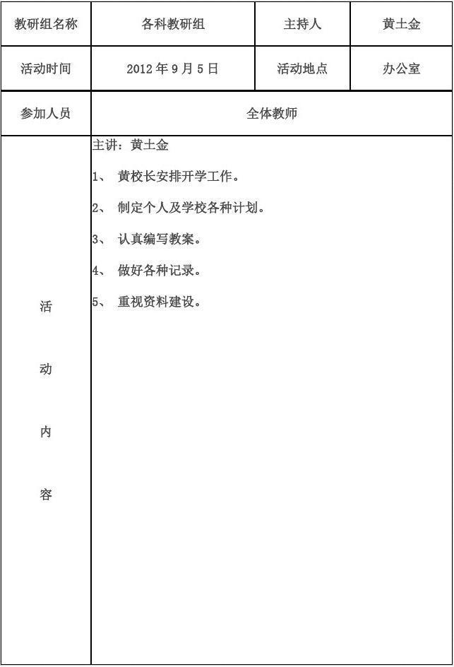 小学语文教研记录表_教研组活动记录表1_word文档在线阅读与下载_无忧文档