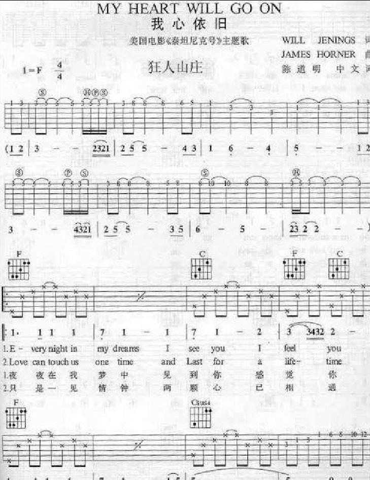 电影 泰坦尼克号 主题曲简谱c调
