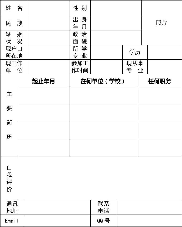 个人简历表格(标准简洁模板)