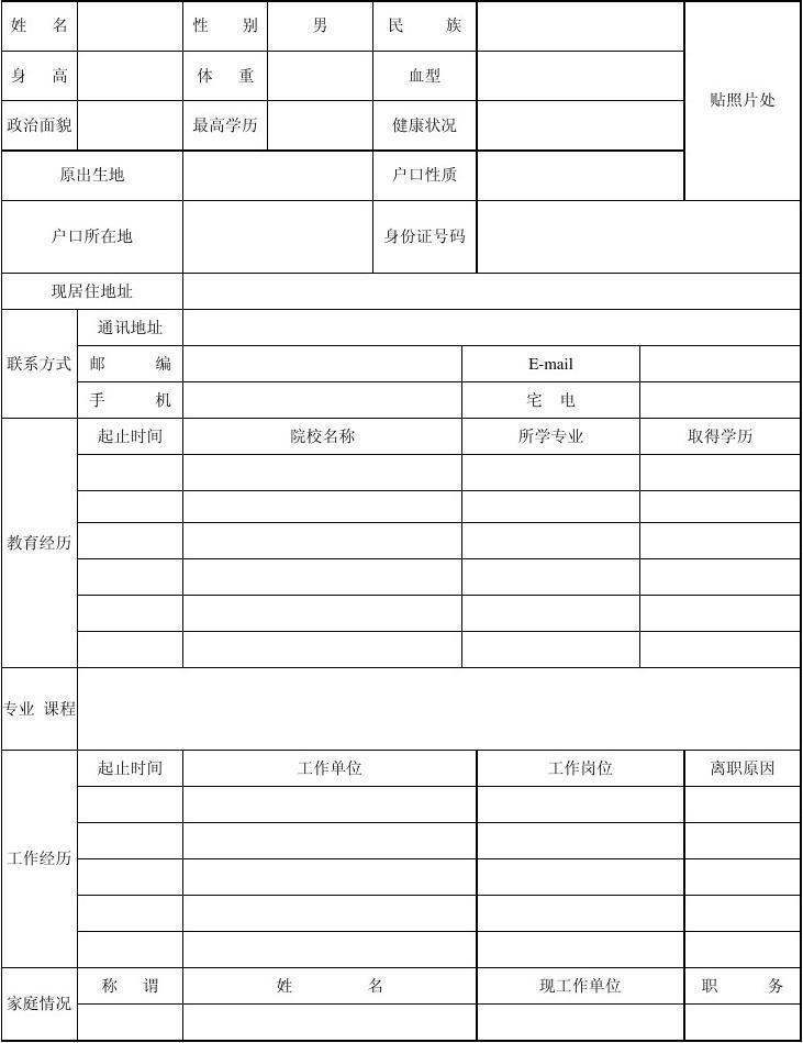 2012年求职个人简历表格样本图片