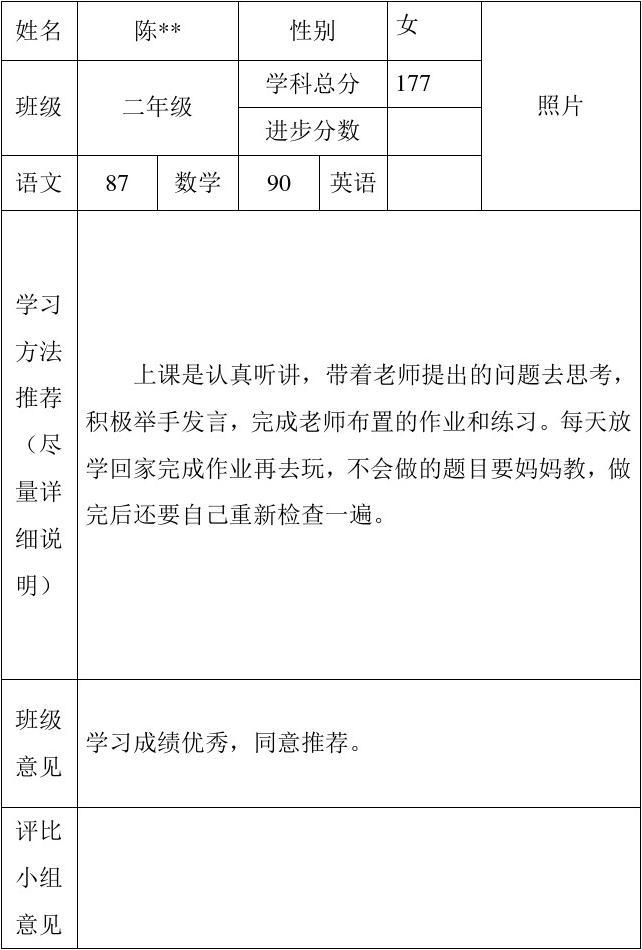 xx小学学习之星推荐表(二年级)