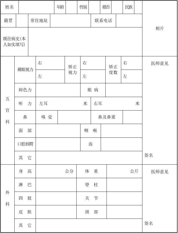 云南省申请教师资格认定人员体检表_word文档