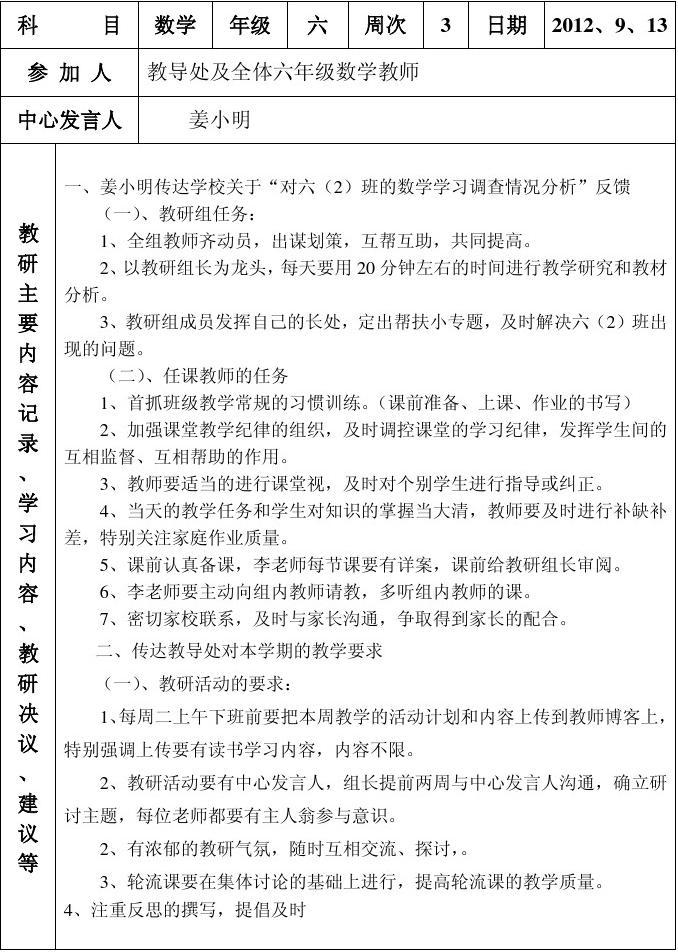 小学语文教研记录表_2015小学数学教研活动记录表_文档下载