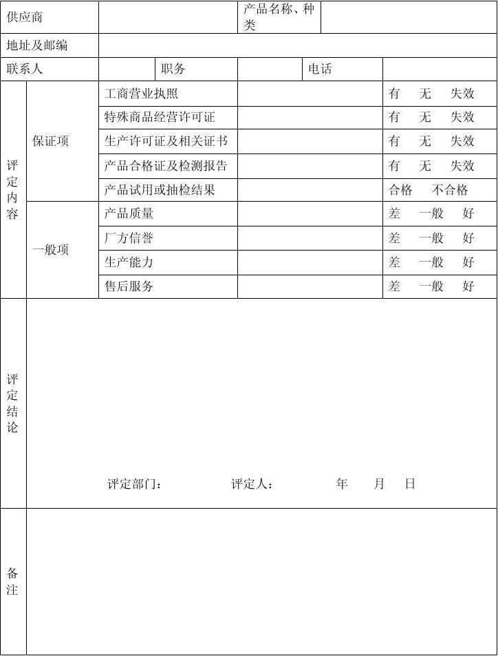 4.6.4.1供应商选择、评价记录表