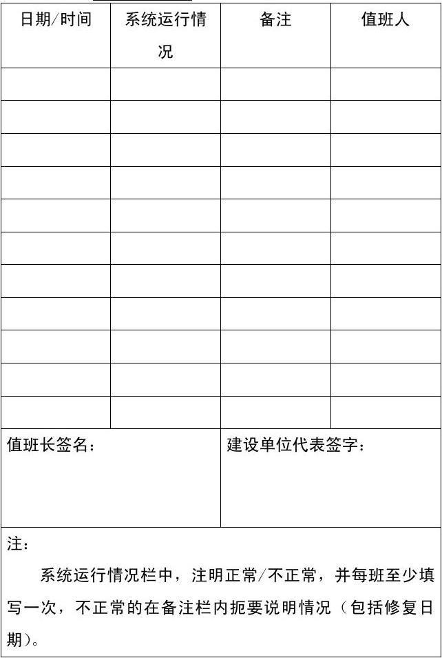 试运行记录表