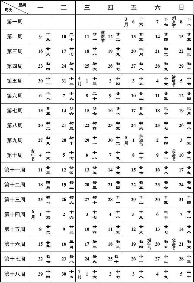 2015春季学期周历表