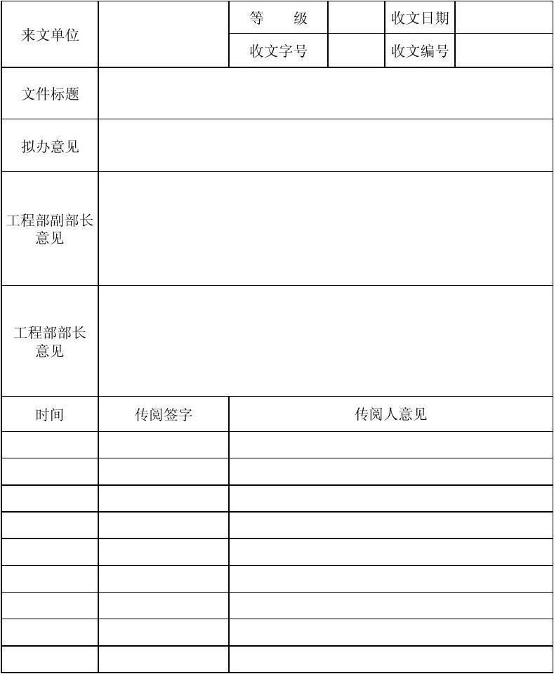 工程管理部收文传阅单