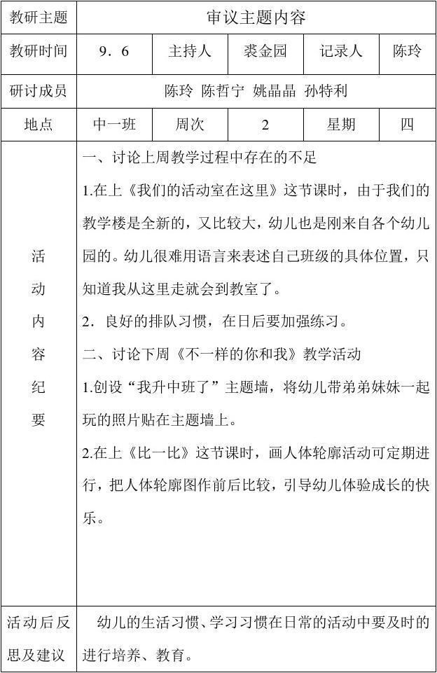 仙湖幼儿园 教研组活动记录表