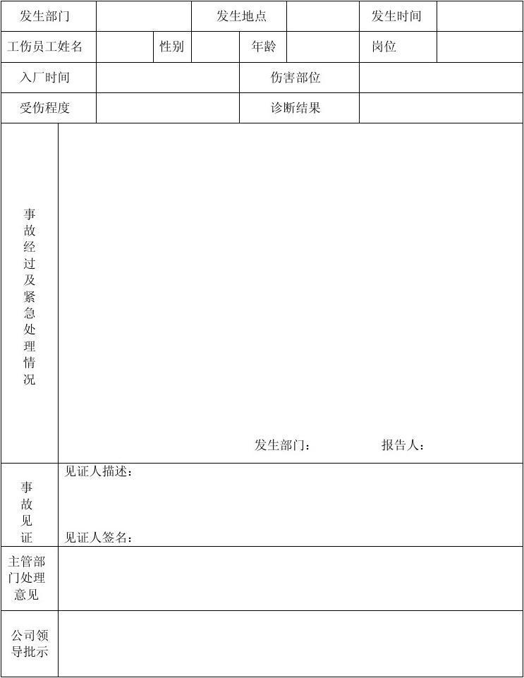 企业员工工伤报告表(精简版)   豆丁网