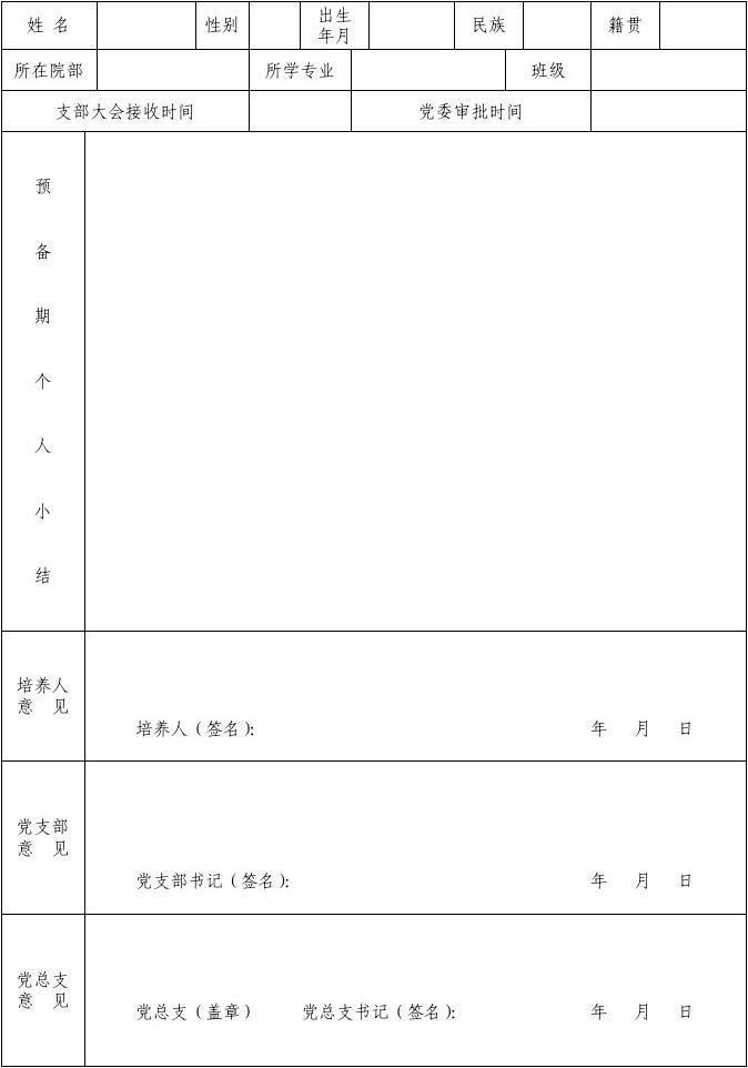 黄石理工学院预备党员考察鉴定表