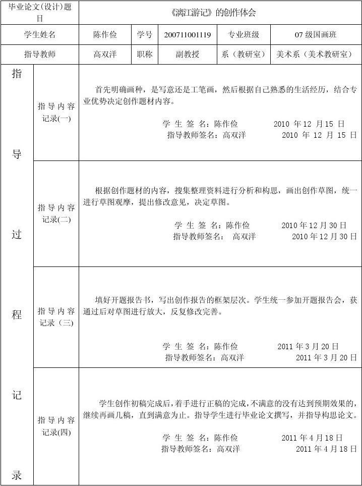逝业设计(论文)指点经过记载表_word文档在线