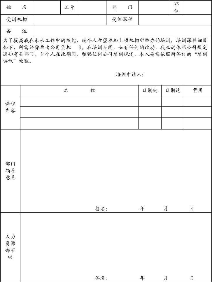 文档网 所有分类 求职/职场 职业规划 员工外部培训申请表  第1页 (共图片