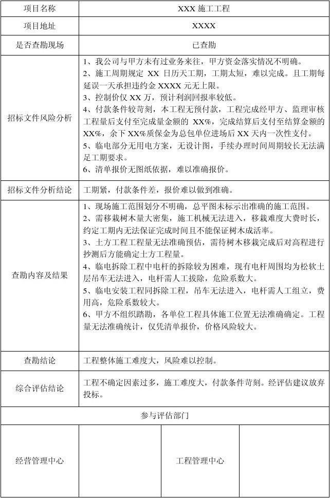 工程项目风险评估报告