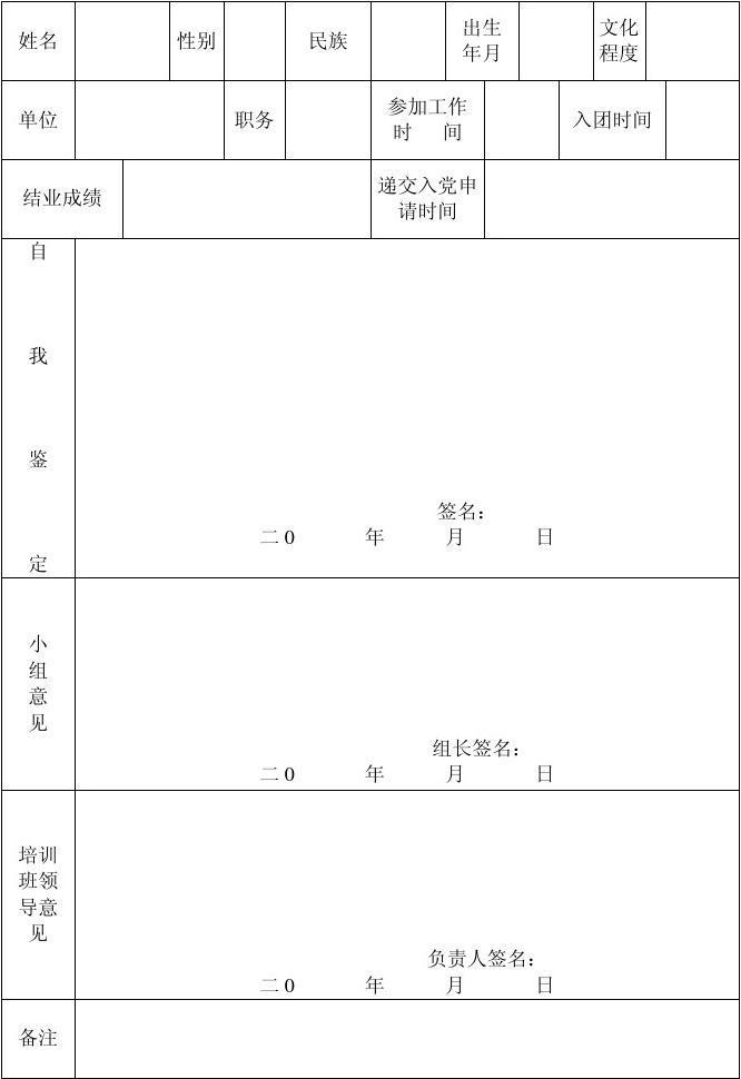 {入党积极分子自我鉴定表}.