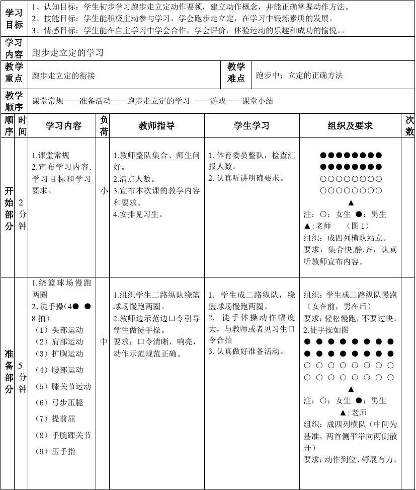 四步立定法_三年级跑步走——立定体育教学教案(王佳明)第五周