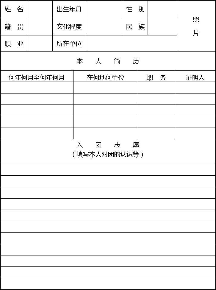 新版入團志愿書表格圖片
