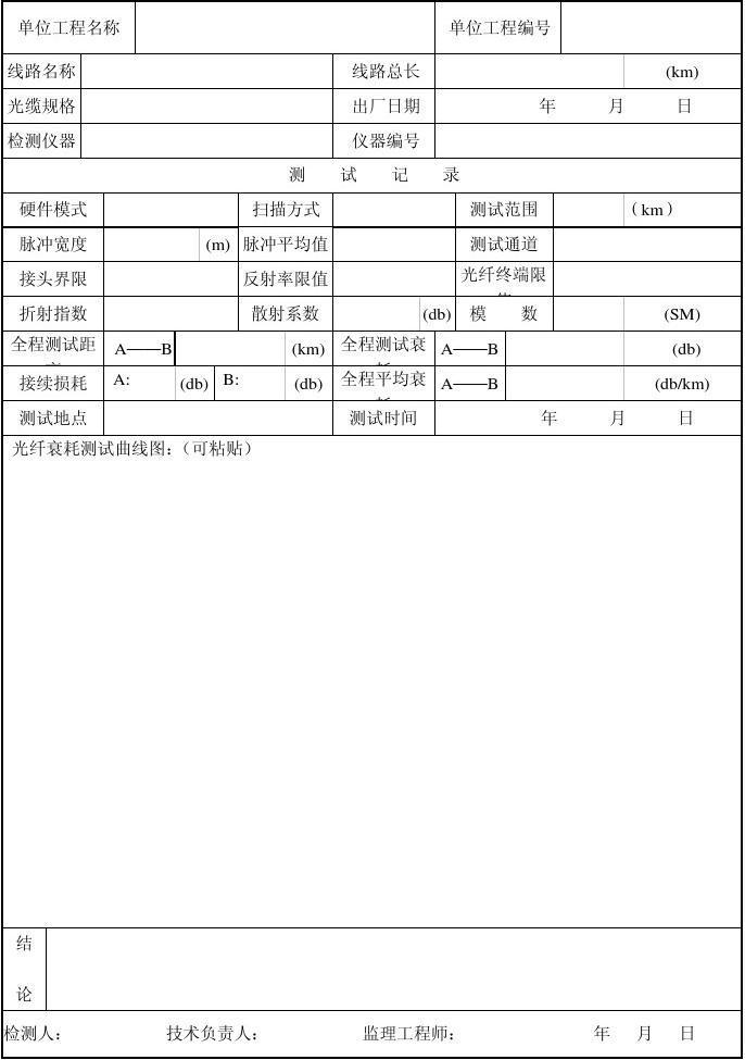 8.4.1.4通信光缆熔接测试记录