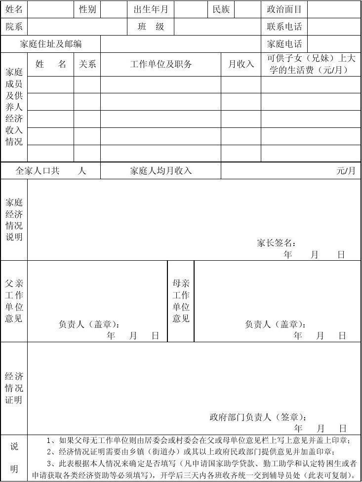 学生家庭经济情况调查表(空白表)