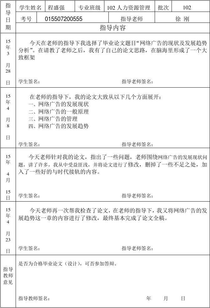 2016逝业论文(设计)指点记载表模板_word文档