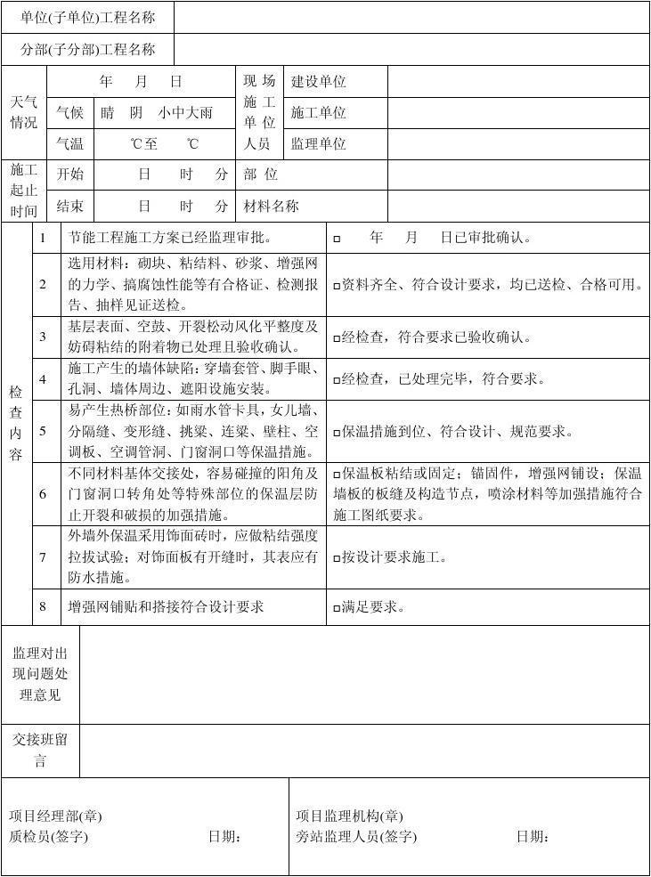 旁站监理记录表 18