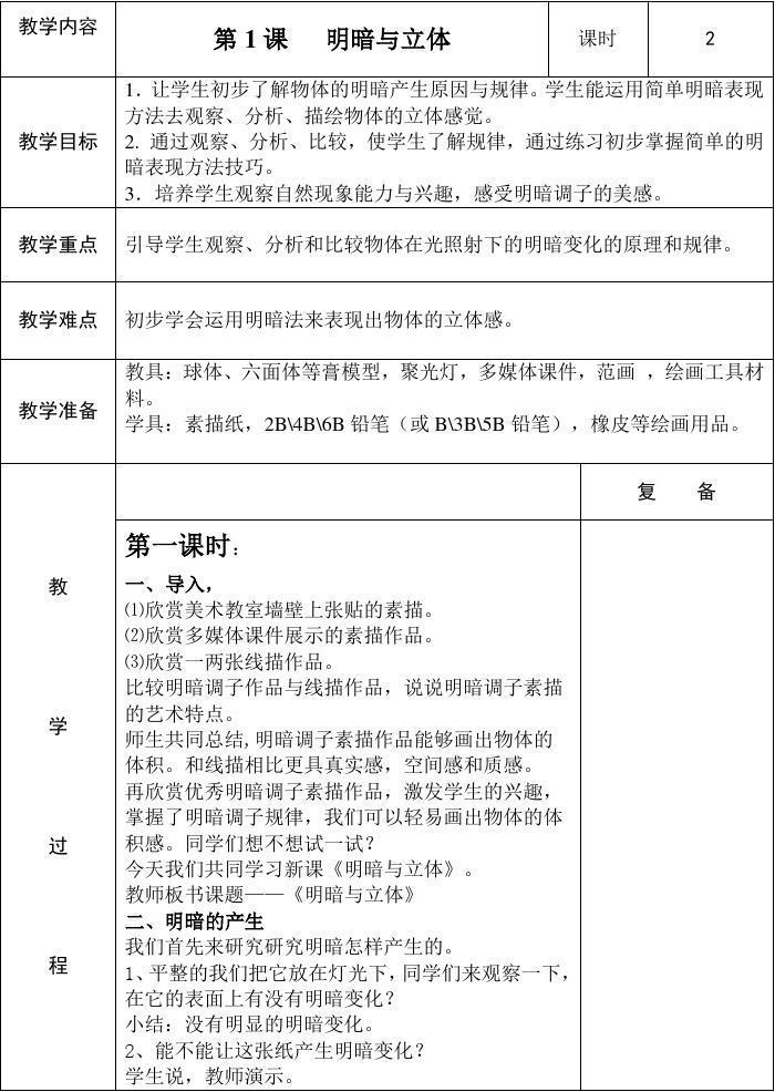 最新六年级下册美术全册教案__人教版2015新版
