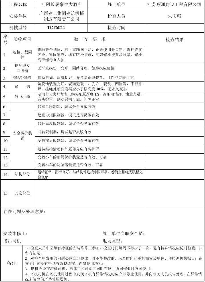 表6-17 塔式起重机日常检查维护保养记录