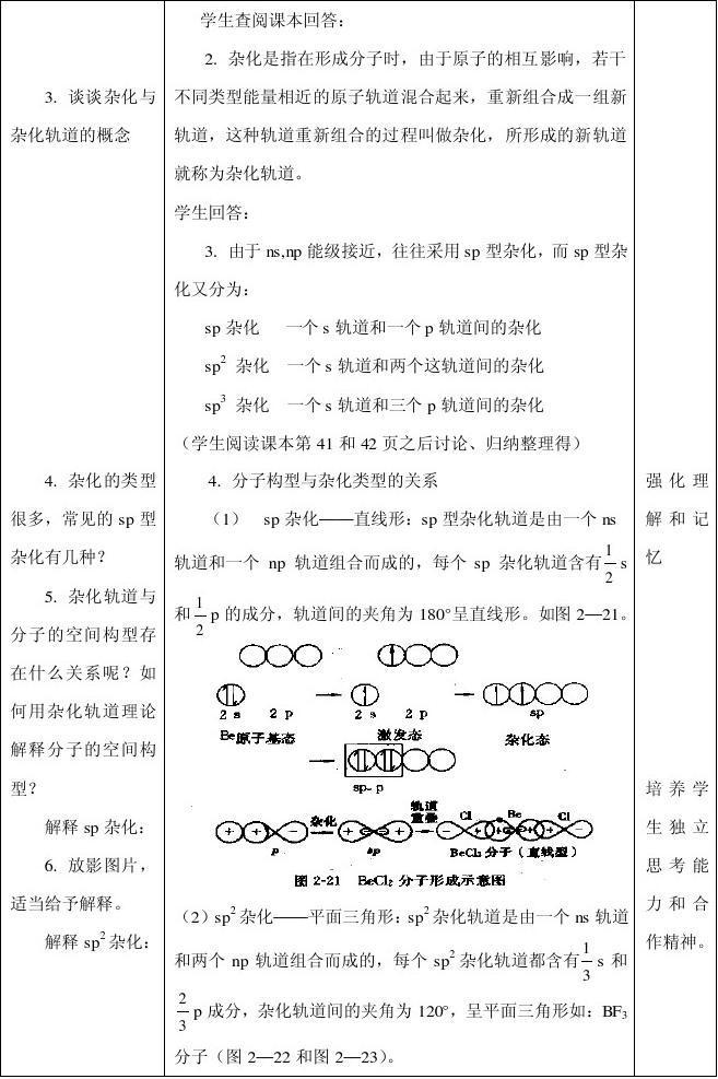 苏教版选修物质结构高二化学杂化轨道理论简介