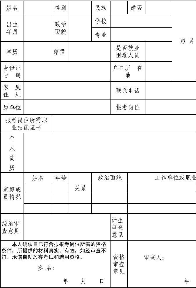 2014年福建省厦门市灌口镇协议用工报名登记表xls