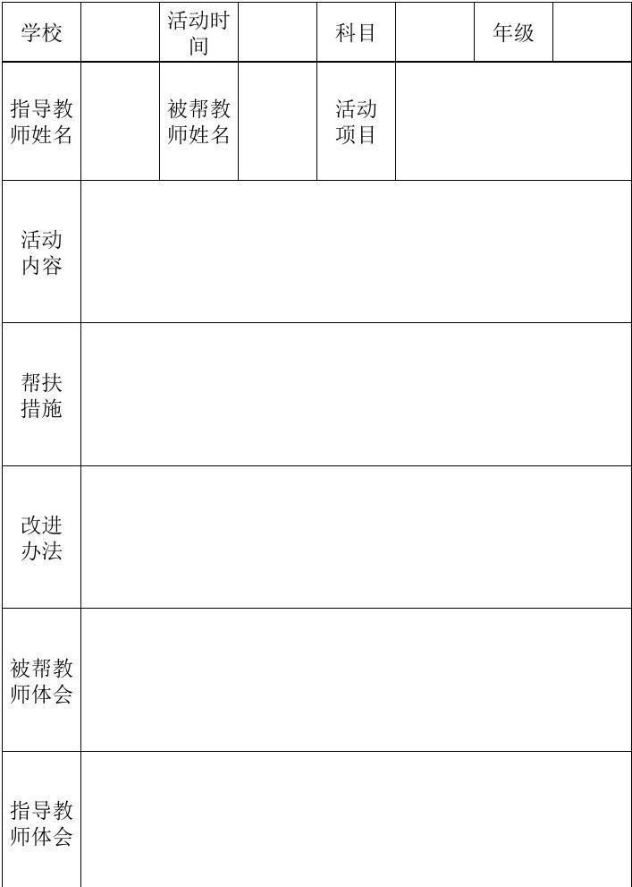 指导青年教师记录表_指导教师与支教教师结对帮扶记录表_文库下载