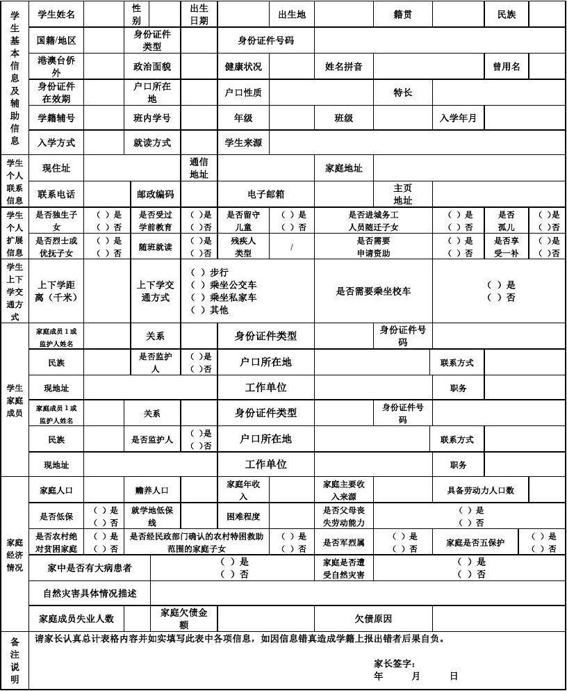 信息中小学生全国管理系统相关学籍表安徽省小学黟县图片