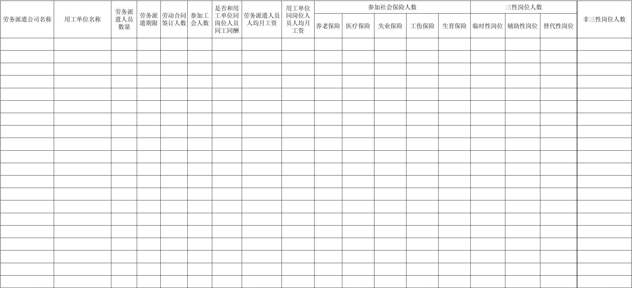 2013年度劳务派遣经营情况统计表-Sheet1