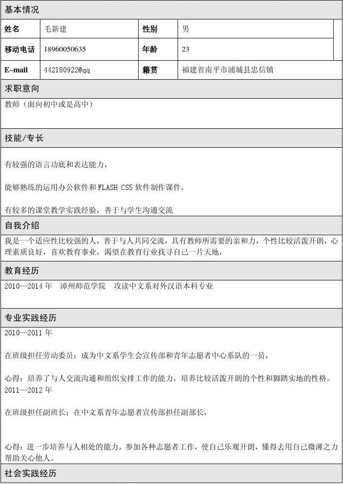 专业实践经历 2010—2011 年 在班级担任劳动委员;成为中文系学生会图片
