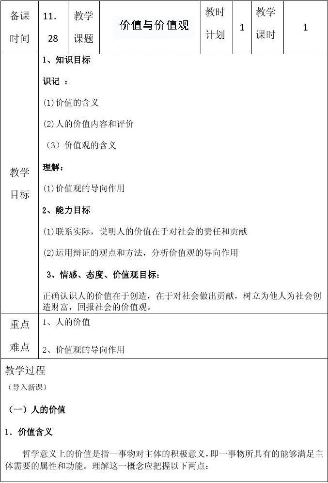 2014学年江苏省连云港市高二政治精品教案:《12.1 价值与价值观》(新人教版必修4)